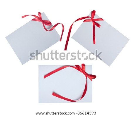 collection of card note with ribbon on white background