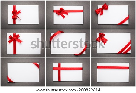 Collection of card with red ribbon bow - stock photo