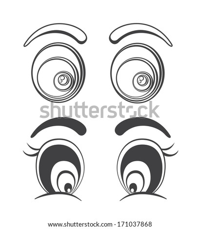 Collection of cartoon eyes illustrations. Easy to edit. - stock photo