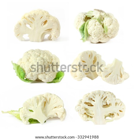 Collection of cauliflower cabbage isolated on white background - stock photo