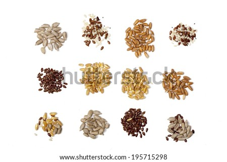Collection of Cereal Grains and Seeds -flaxseed; corn; wheat; sunflower seeds; spelled; rye; sesame; oats - stock photo