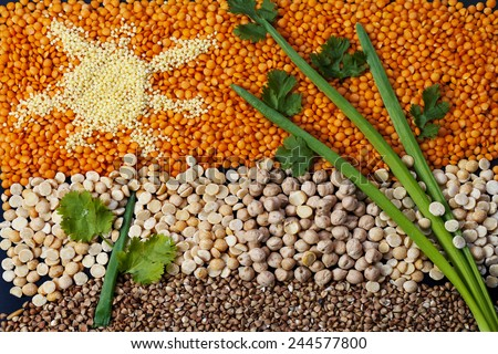 Collection of cereals and legumes in the form of artistic paintings - stock photo