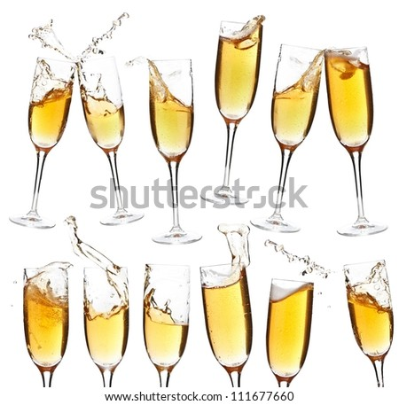 Collection of champagne glasses whit splash on white background - stock photo