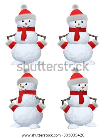 Collection of cheerful snowman with red fluffy hat, scarf and mittens 3d illustration set - stock photo