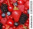 Collection of cherries, strawberries, blueberries, red currants, raspberries and blackberries - stock photo