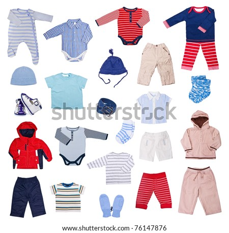 Collection of children's clothes on a white background - stock photo