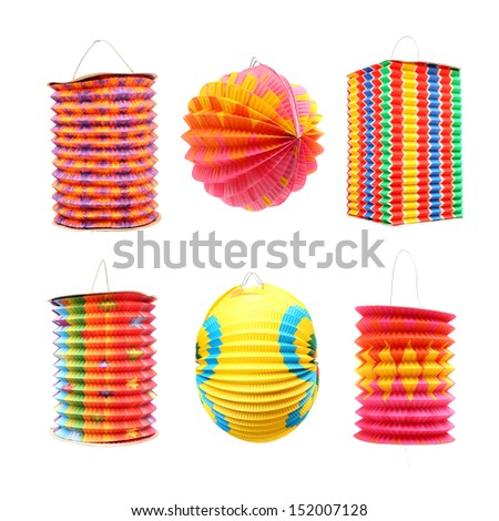 Collection of Chinese lantern on white background. Traditional handmade work from rice paper.  - stock photo