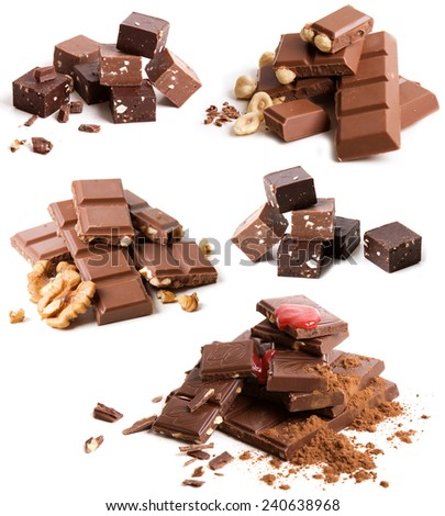 Collection of chocolate bars on white background - stock photo