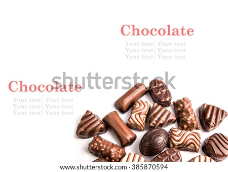 collection of chocolates on white with text to be added