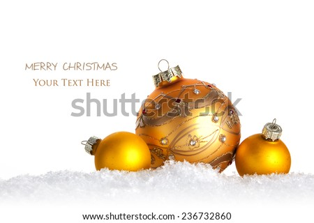 Collection of Christmas Balls on Snow - stock photo