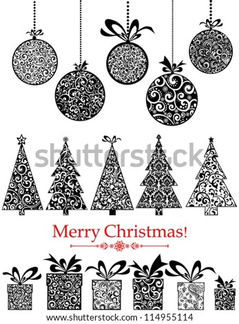 Collection of Christmas design elements isolated on White background.  illustration - stock photo