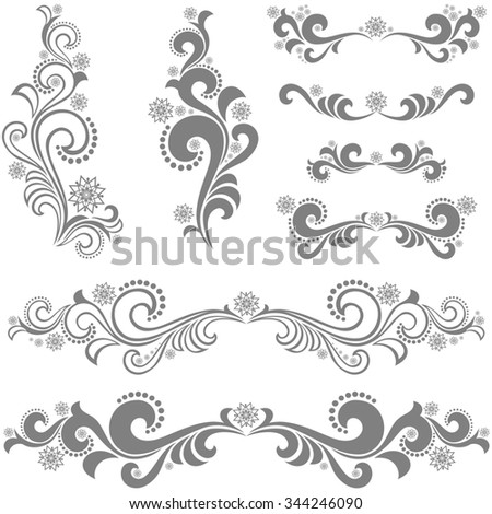 Collection of Christmas design elements isolated on white background.  illustration