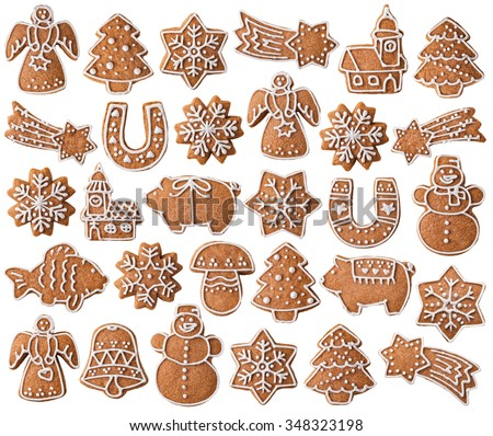 Collection of Christmas gingerbread cookies isolated on white background - stock photo