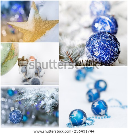 Collection of christmas greetings with Santa and decoration - stock photo