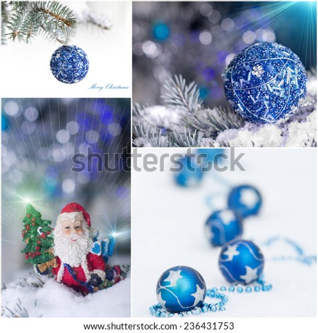 Collection of christmas greetings with Santa and decoration