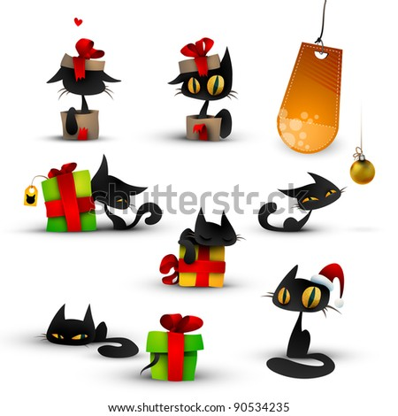 Collection of Christmas Kittens, Cats Isolated on White - stock photo
