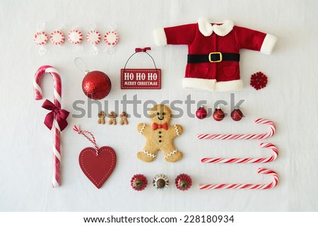 Collection of Christmas objects - stock photo