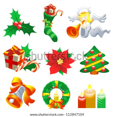 Collection of Christmas-related objects and symbols - stock photo