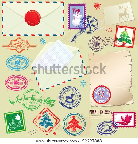 Collection of Christmas stamps, envelops, labels - Christmas and New Year postage set. Raster version - stock photo