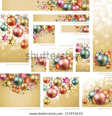 Collection of Christmas vintage banners with baubles and place for text. Check my portfolio for vector version. - stock photo