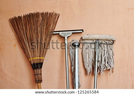 collection of cleaning equipment - stock photo