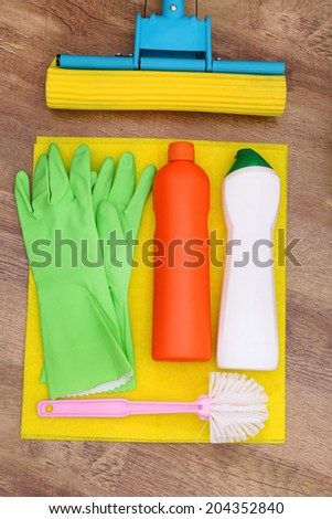 Collection of cleaning products and tools  - stock photo