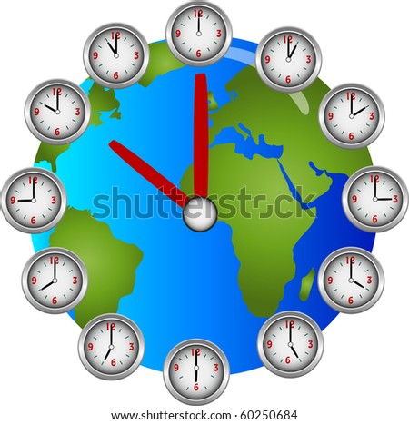 Collection of clocks showing each hour of the day circling a globe clock illustration - stock photo
