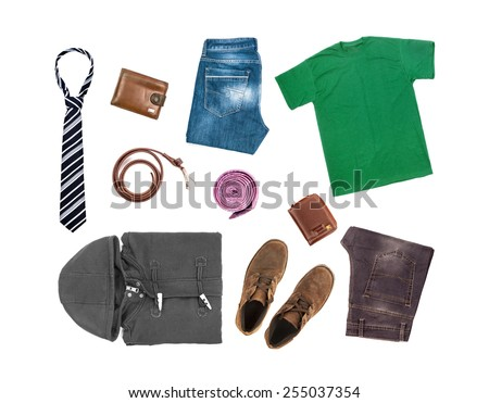 Collection of clothing isolated on the white background - stock photo