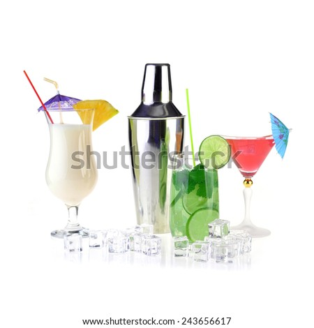 Collection of cocktail drinks in special goblets