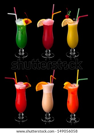 Collection of cocktails on a black background - stock photo