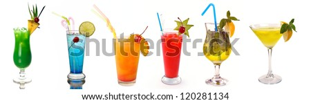 collection of cocktails on a white background - stock photo