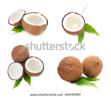 collection of coconuts full of milk isolated on white background - stock photo