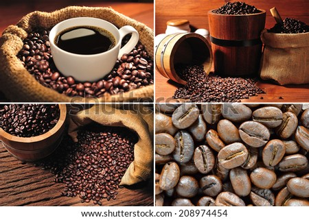 Collection of coffee cup and coffee beans