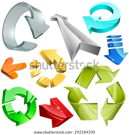 Collection of color plastic, metal and glass 3D arrows. - stock photo