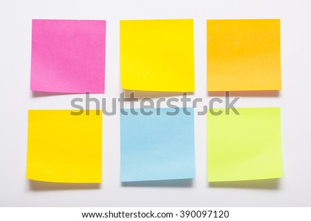 Collection of colored adhesive notes - stock photo