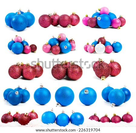 Collection of colored christmas balls,Isolated over white.  - stock photo