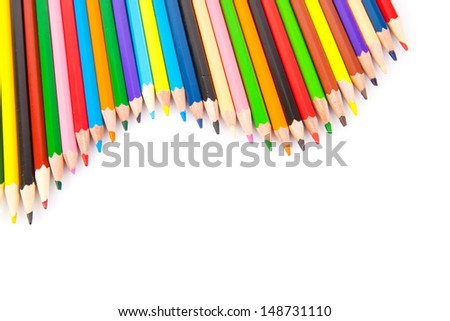 Collection of colored pencils isolated on white background