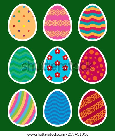 collection of colored stickers of easter eggs