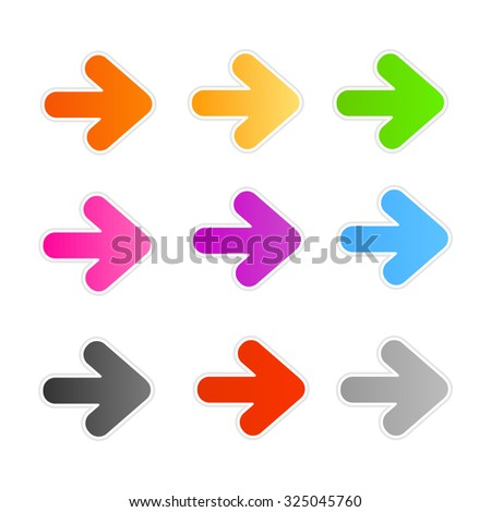 Collection of colorful arrowhead stickers / buttons isolated on white - stock photo