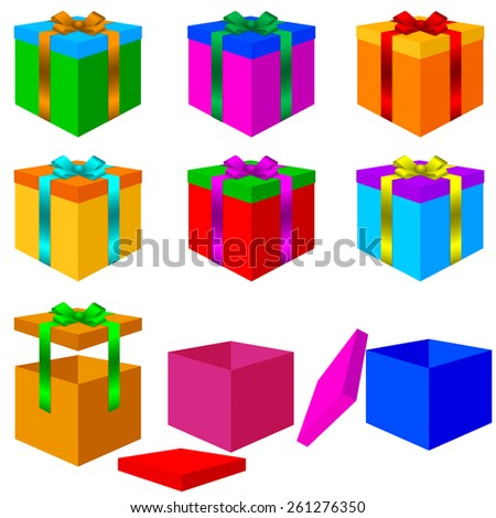 Collection of colorful box christmas gifts with Bow.  illustration. - stock photo