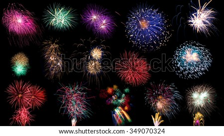 collection of colorful fireworks on black background - stock photo
