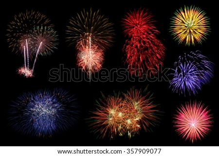 Collection of colorful fireworks on black background.