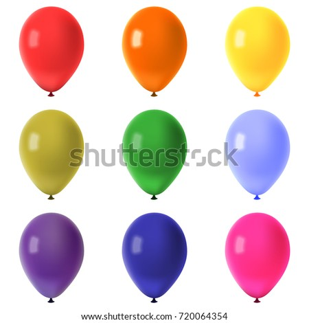Collection of colorful flying balloons isolated on white background, raster illustration
