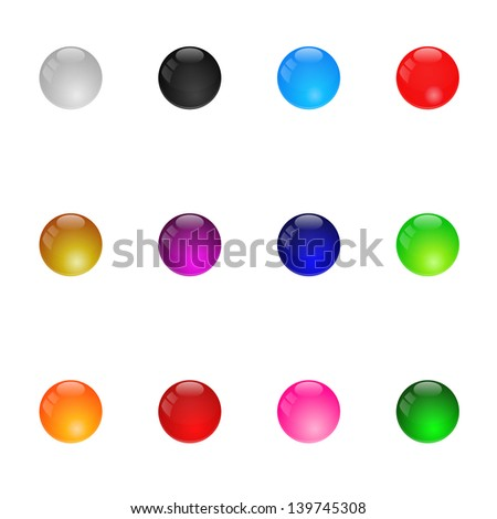 Collection Of Colorful Glossy Spheres. Set 1. Isolated. Raster Version - stock photo