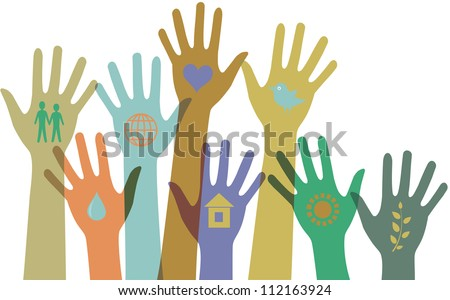 Collection of  colorful hands with icons. - stock photo