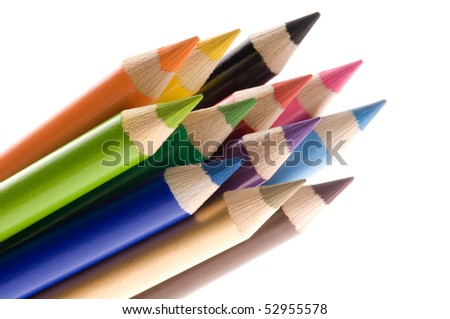 Collection of colorful pens over white background - stock photo