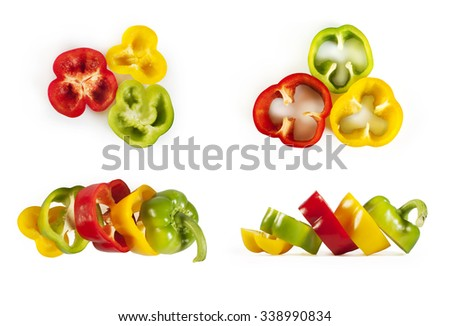 Collection of colorful peppers sliced isolated on white - red, yellow and green paprika - stock photo