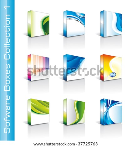 Collection of Colrful High Quality Software Boxes - stock photo