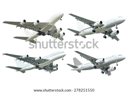 Collection of commercial plane isolated on white background - stock photo