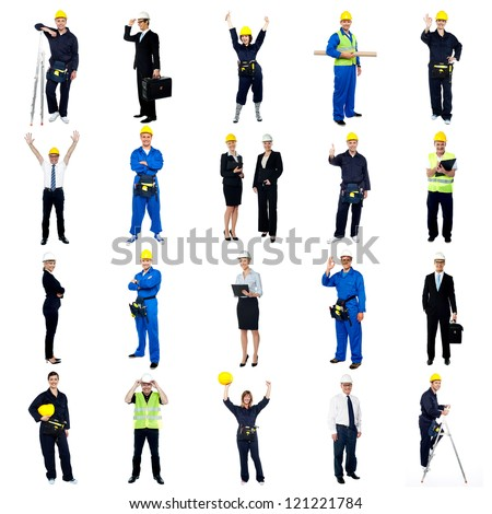 Collection of construction workers. All on white background. - stock photo